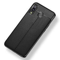 Samsung Galaxy A9 Star SM-G8850用シリコンケース ソフトタッチラバー レザー柄 サムスン ブラック