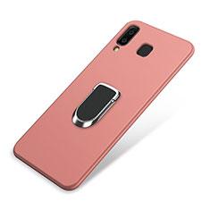 Samsung Galaxy A9 Star SM-G8850用極薄ソフトケース シリコンケース 耐衝撃 全面保護 アンド指輪 マグネット式 バンパー サムスン ピンク