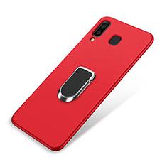 Samsung Galaxy A9 Star SM-G8850用極薄ソフトケース シリコンケース 耐衝撃 全面保護 アンド指輪 マグネット式 バンパー サムスン レッド