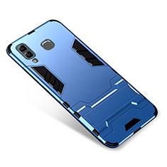 Samsung Galaxy A9 Star SM-G8850用ハイブリットバンパーケース スタンド プラスチック 兼シリコーン カバー サムスン ネイビー
