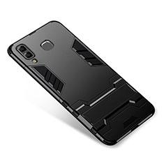 Samsung Galaxy A9 Star SM-G8850用ハイブリットバンパーケース スタンド プラスチック 兼シリコーン カバー サムスン ブラック