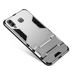 Samsung Galaxy A9 Star SM-G8850用ハイブリットバンパーケース スタンド プラスチック 兼シリコーン カバー サムスン シルバー