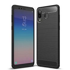 Samsung Galaxy A9 Star SM-G8850用シリコンケース ソフトタッチラバー ツイル サムスン ブラック