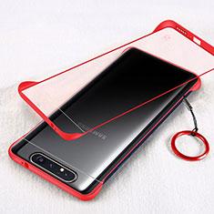 Samsung Galaxy A90 4G用ハードカバー クリスタル クリア透明 S01 サムスン レッド