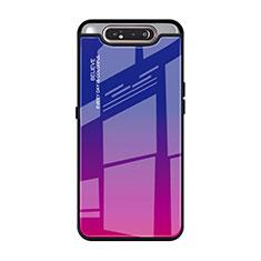 Samsung Galaxy A90 4G用ハイブリットバンパーケース プラスチック 鏡面 虹 グラデーション 勾配色 カバー H01 サムスン ローズレッド