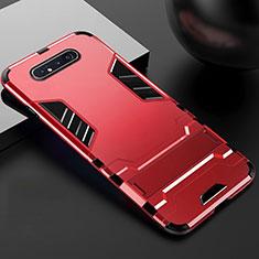 Samsung Galaxy A90 4G用ハイブリットバンパーケース スタンド プラスチック 兼シリコーン カバー R01 サムスン レッド