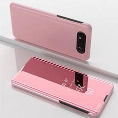 Samsung Galaxy A90 4G用手帳型 レザーケース スタンド 鏡面 カバー M01 サムスン ローズゴールド