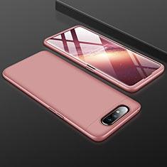 Samsung Galaxy A90 4G用ハードケース プラスチック 質感もマット 前面と背面 360度 フルカバー サムスン ローズゴールド