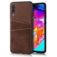 Samsung Galaxy A90 5G用ケース 高級感 手触り良いレザー柄 R01 サムスン ブラウン