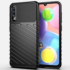 Samsung Galaxy A90 5G用シリコンケース ソフトタッチラバー ツイル カバー Y01 サムスン ブラック