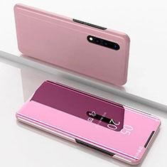 Samsung Galaxy A90 5G用手帳型 レザーケース スタンド 鏡面 カバー M01 サムスン ローズゴールド