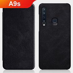 Samsung Galaxy A9s用手帳型 レザーケース スタンド サムスン ブラック