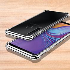 Samsung Galaxy A9s用極薄ソフトケース シリコンケース 耐衝撃 全面保護 クリア透明 H01 サムスン シルバー