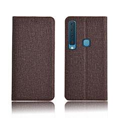 Samsung Galaxy A9s用手帳型 布 スタンド カバー サムスン ブラウン