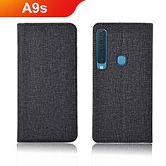 Samsung Galaxy A9s用手帳型 布 スタンド カバー サムスン ブラック
