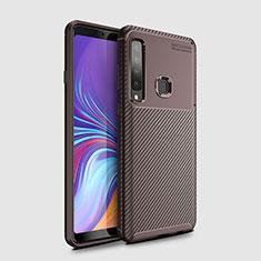 Samsung Galaxy A9s用シリコンケース ソフトタッチラバー ツイル カバー サムスン ブラウン