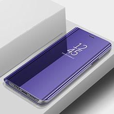 Samsung Galaxy A9s用手帳型 レザーケース スタンド カバー 鏡面 カバー サムスン ネイビー