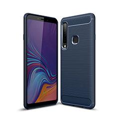 Samsung Galaxy A9s用シリコンケース ソフトタッチラバー ライン カバー サムスン ネイビー