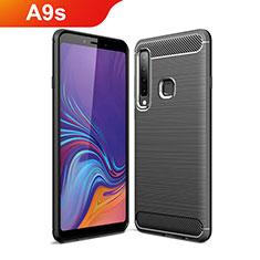 Samsung Galaxy A9s用シリコンケース ソフトタッチラバー ライン カバー サムスン ブラック