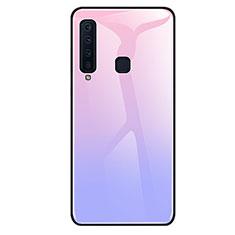 Samsung Galaxy A9s用ハイブリットバンパーケース プラスチック 鏡面 虹 グラデーション 勾配色 カバー サムスン パープル