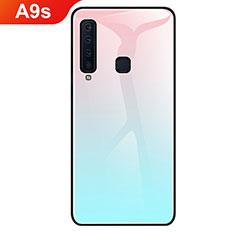 Samsung Galaxy A9s用ハイブリットバンパーケース プラスチック 鏡面 虹 グラデーション 勾配色 カバー サムスン シアン