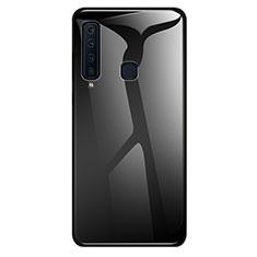 Samsung Galaxy A9s用ハイブリットバンパーケース プラスチック 鏡面 虹 グラデーション 勾配色 カバー サムスン ブラック