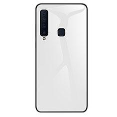 Samsung Galaxy A9s用ハイブリットバンパーケース プラスチック 鏡面 虹 グラデーション 勾配色 カバー サムスン ホワイト