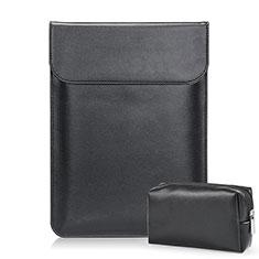 Samsung Galaxy Book Flex 15.6 NP950QCG用高品質ソフトレザーポーチバッグ ケース イヤホンを指したまま L02 サムスン ブラック
