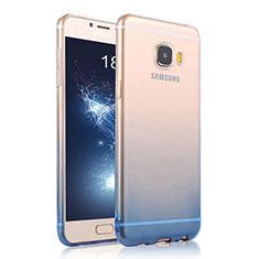 Samsung Galaxy C5 SM-C5000用極薄ソフトケース グラデーション 勾配色 クリア透明 サムスン ネイビー
