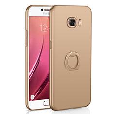 Samsung Galaxy C5 SM-C5000用ハードケース プラスチック 質感もマット アンド指輪 A01 サムスン ゴールド