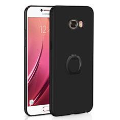 Samsung Galaxy C5 SM-C5000用ハードケース プラスチック 質感もマット アンド指輪 A01 サムスン ブラック