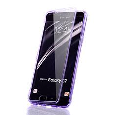 Samsung Galaxy C5 SM-C5000用ソフトケース フルカバー クリア透明 サムスン パープル