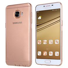Samsung Galaxy C5 SM-C5000用極薄ソフトケース シリコンケース 耐衝撃 全面保護 クリア透明 T06 サムスン ゴールド