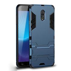 Samsung Galaxy C7 (2017)用ハイブリットバンパーケース スタンド プラスチック 兼シリコーン カバー サムスン シアン