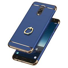 Samsung Galaxy C7 (2017)用ケース 高級感 手触り良い メタル兼プラスチック バンパー アンド指輪 サムスン ネイビー