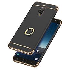 Samsung Galaxy C7 (2017)用ケース 高級感 手触り良い メタル兼プラスチック バンパー アンド指輪 サムスン ブラック
