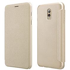 Samsung Galaxy C7 (2017)用手帳型 レザーケース スタンド L01 サムスン ゴールド