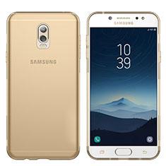 Samsung Galaxy C7 (2017)用極薄ソフトケース シリコンケース 耐衝撃 全面保護 クリア透明 T03 サムスン ゴールド