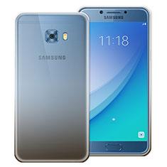 Samsung Galaxy C7 Pro C7010用極薄ソフトケース グラデーション 勾配色 クリア透明 サムスン グレー