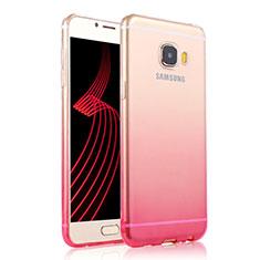 Samsung Galaxy C7 Pro C7010用極薄ソフトケース グラデーション 勾配色 クリア透明 T04 サムスン ピンク