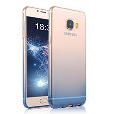 Samsung Galaxy C7 Pro C7010用極薄ソフトケース グラデーション 勾配色 クリア透明 T04 サムスン ネイビー