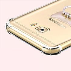 Samsung Galaxy C7 Pro C7010用極薄ソフトケース シリコンケース 耐衝撃 全面保護 クリア透明 T05 サムスン グレー