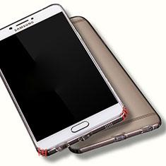 Samsung Galaxy C7 Pro C7010用極薄ソフトケース シリコンケース 耐衝撃 全面保護 クリア透明 T06 サムスン グレー