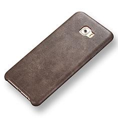 Samsung Galaxy C7 Pro C7010用ケース 高級感 手触り良いレザー柄 サムスン ブラウン
