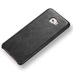 Samsung Galaxy C7 Pro C7010用ケース 高級感 手触り良いレザー柄 サムスン ブラック