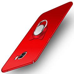 Samsung Galaxy C7 Pro C7010用ハードケース プラスチック 質感もマット アンド指輪 マグネット式 サムスン レッド