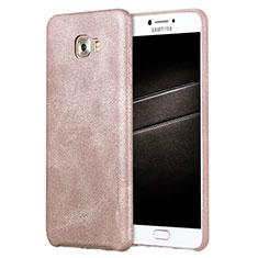 Samsung Galaxy C7 Pro C7010用ケース 高級感 手触り良いレザー柄 L01 サムスン ローズゴールド