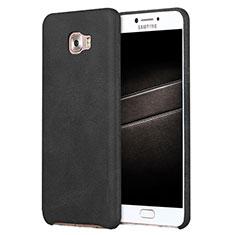 Samsung Galaxy C7 Pro C7010用ケース 高級感 手触り良いレザー柄 L01 サムスン ブラック