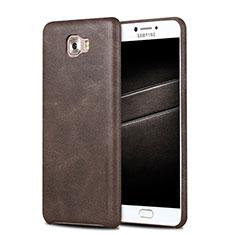 Samsung Galaxy C7 Pro C7010用ケース 高級感 手触り良いレザー柄 L01 サムスン ブラウン
