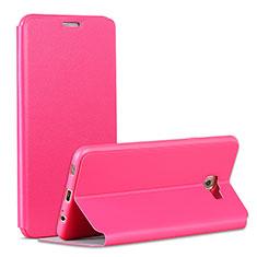 Samsung Galaxy C7 Pro C7010用手帳型 レザーケース スタンド サムスン ローズレッド